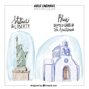 Puntos de referencia de acuarela de nueva york y grecia
