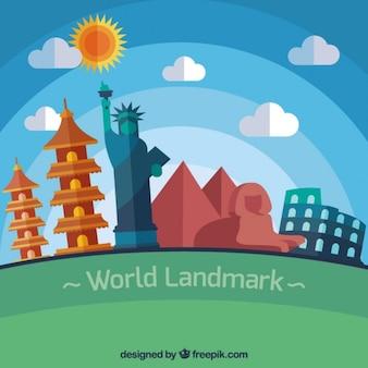 Puntos de referencia del mundo en diseño plano