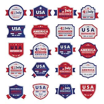 """"""""""" Feliz día de la independencia de Estados Unidos de América, 4 de julio. Un conjunto de marcos planos / divisas """""""""""