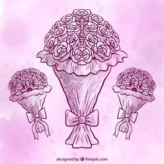 Ramos de flores dibujados a mano con el fondo morado