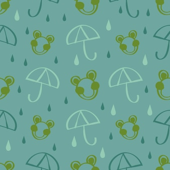 Rana de drwan de mano sin fisuras con fondo de gotas de lluvia