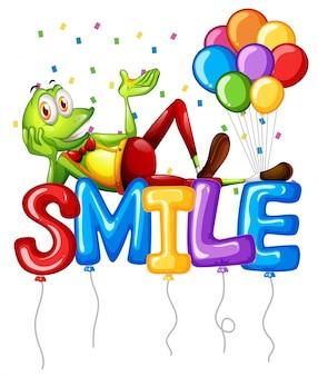 Rana y globos para la sonrisa de la palabra