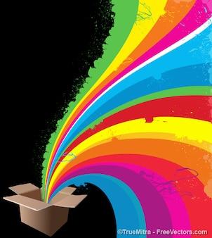 Rayas de colores que salen de una caja