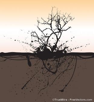árbol muerto con el fondo grunge salpicaduras