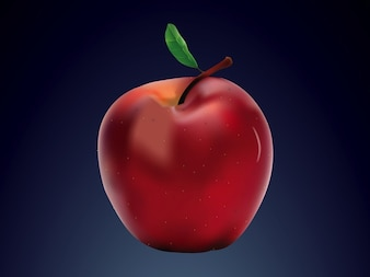 Realista de manzana vector logo sana