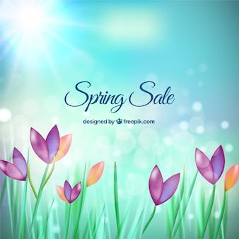Rebajas de primavera con fondo de flores hermosas