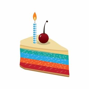 Rebanada de pastel de cumpleaños con guarnición hermosa cereza y velas. Ilustración vectorial
