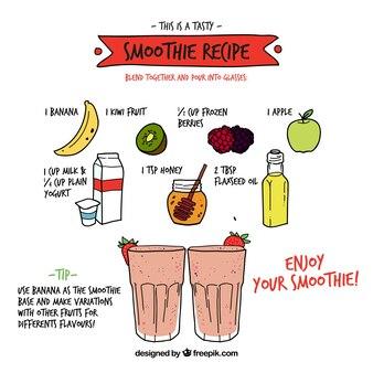 Receta de batido de frutas dibujado a mano