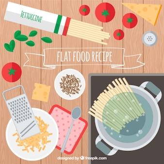 Receta de espaguetis en diseño plano