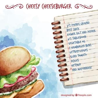 Receta de hamburguesa de queso dibujada a mano