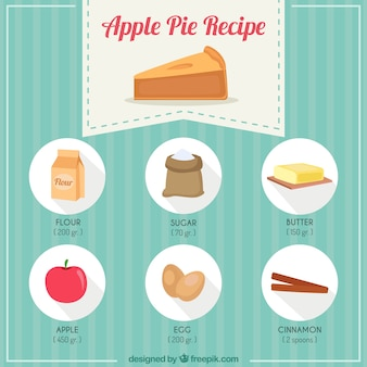 Receta de pastel de manzana dibujada a mano
