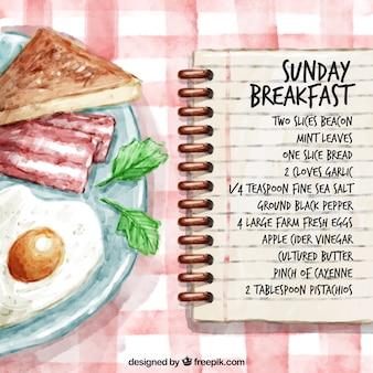 Receta pintada a mano de desayuno de domingo
