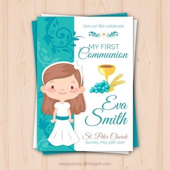 Recordatorio con niña de comunión