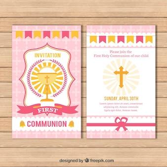 Recordatorio de primera comunión con cáliz y cruz