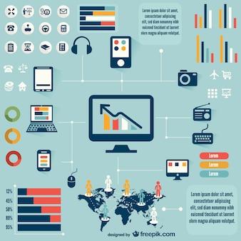 Recursos gráficos de infografías retro