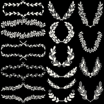 Recursos ornamentales dibujados a mano sobre un fondo negro
