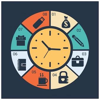 Reloj de infografía de negocios