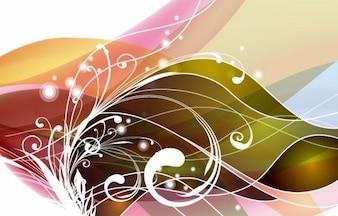 remolino abstracto arte vectorial de flores