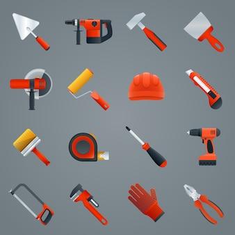 Reparación y construcción herramientas iconos conjunto con martillo sierra destornillador aislado ilustración vectorial