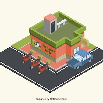 restaurante al aire libre 3D con vehículos