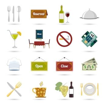 Restaurante cocina de alimentos y servir iconos conjunto aislado ilustración vectorial