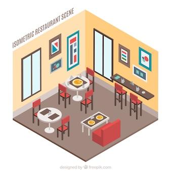 Restaurante isométrico bonito