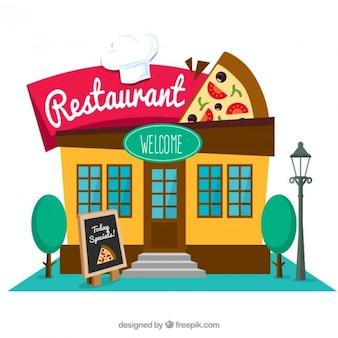 Restaurante italiano en diseño plano