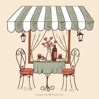 Restaurante romántico dibujado a mano