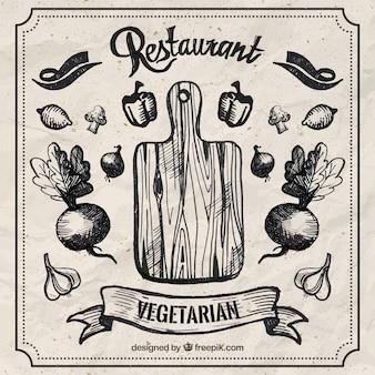 Restaurante vegetariano dibujado a mano