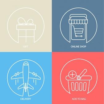 Resumen de comercio electrónico conjunto de iconos web.