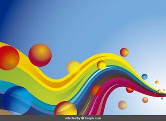 Resumen de fondo con olas de colores