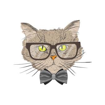 Retrato de un gato con pajarita y gafas hipster con mirada aislado ilustración vectorial