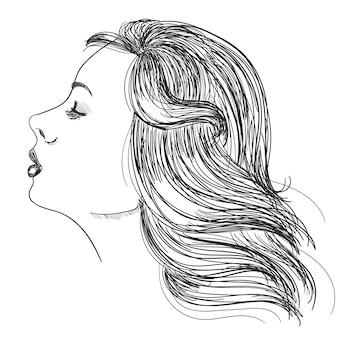 Retrato de una mujer con el pelo hermoso