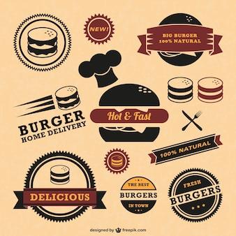Retro vectores insignias de calidad de comida rápida