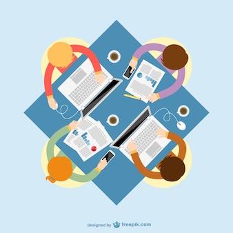 Reunión de negocios a color