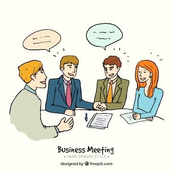 Reunión de negocios dibujada a mano