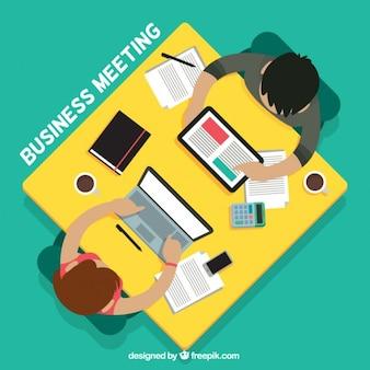 Reunión de negocios en vista superior en diseño plano