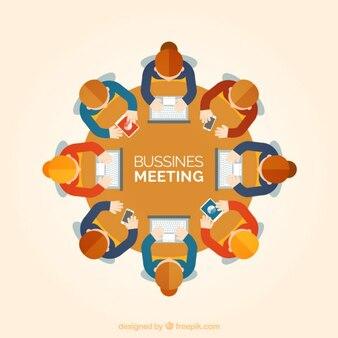 Reunión de negocios en vista superior