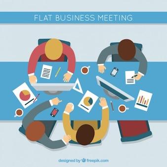 Reunión de negocios plana en vista superior
