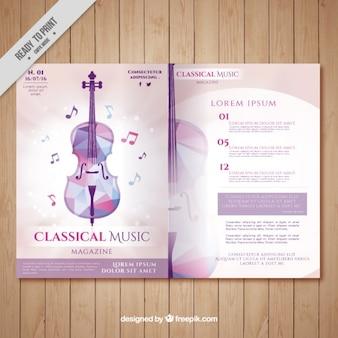 Revista de música clásica con violín geométrico