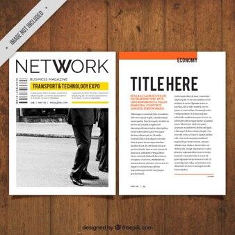 Revista de negocios sencilla con una fotografía
