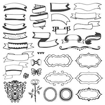 Ribbons y marcos dibujados a mano
