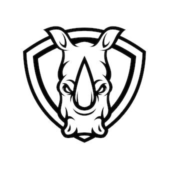 Rinoceronte animal deporte mascota cabeza logotipo vectorial