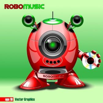 Robot con un cd de música