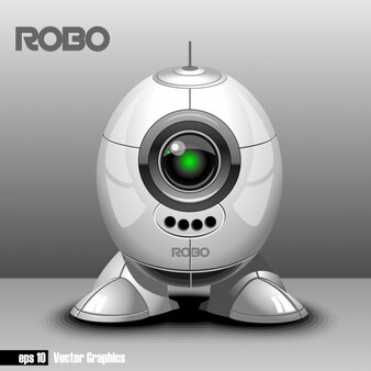 Robot sobre fondo gris