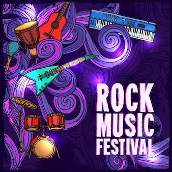 Rock music festival cartel con guitarra eléctrica tambores teclado instrumentos ilustración vectorial