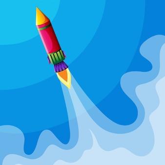 Rocket volando alto en el cielo