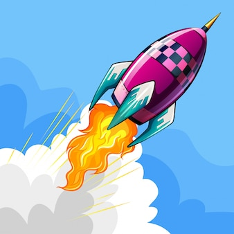 Rocket volando en el cielo