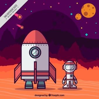 Rocket y el astronauta de fondo