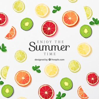 Rodajas de fruta del cartel para el verano